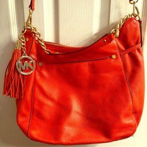 Orange Michael Kors leather Crossbody shoulder bag